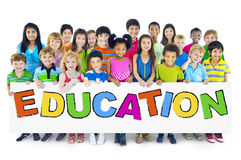 Large Group of Children Holding Board royalty free stock image