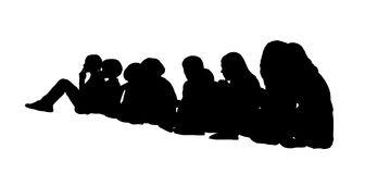 Large group of children seated silhouettes 1 Stock Photography