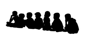 Large group of children seated silhouettes 2 Stock Image