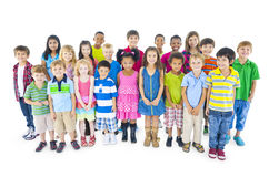 Large Group of Children on White Background Stock Photo
