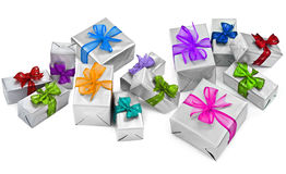 Large group of christmas presents. On white background stock images