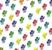 A large group  of color retro robots i Royalty Free Stock Photography