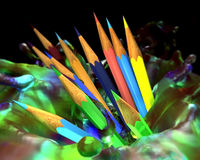 Large group of colored pencils. Stock Photos