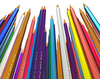 Large group of colored pencils. Stock Photo