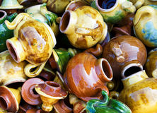 Large group of a colorful ceravic teapots. stock photography