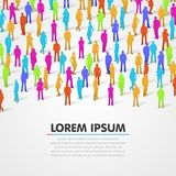 Large group of colorful people silhouette background. Stock Images