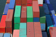 Large group of containers on a ship. Large group of ship containers on a freighter Royalty Free Stock Photography