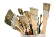 Isolated Used Paint Brushes Royalty Free Stock Photography