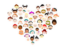 Large group diverse happy people. Large group diverse happy multi ethnic happy people faces Royalty Free Stock Photos