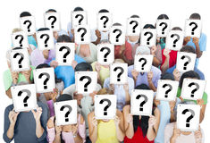 Large Group of Diverse People Holding Question Marks