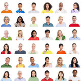 Large group of Diverse People on White Background.  Royalty Free Stock Photography
