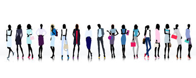 Large group of fashion women royalty free illustration