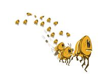 Large group of fleeing fleas Stock Photo