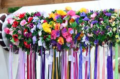 Large group of floral head dresses Royalty Free Stock Photos