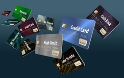 This is a large group of flying, floating credit cards. Illustration stock illustration