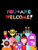 Large Group of Funny Aliens. Large group of friendly funny aliens isolated on a black background . They are smiling and waving their hands. Colorful vector Royalty Free Stock Image