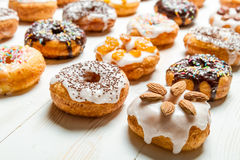 Large group of glazed donuts Stock Image