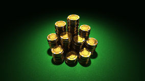 Large group of gold casino chips Royalty Free Stock Image