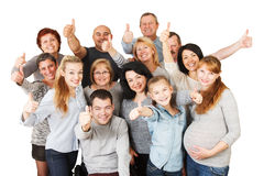 Large Group of Happy People with their thumbs raised up. Stock Photos