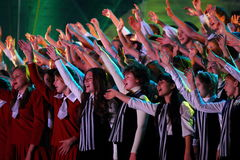 Large group of happy teens sings together Stock Photography