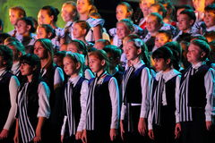 Large group of happy teens sings together Stock Photo