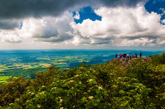 Large group of hikers on Stony Man Mountain, in Shenandoah National Park Stock Photography