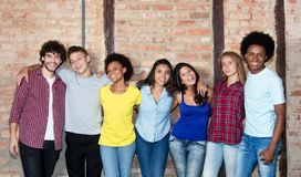 Large group of international young adult people royalty free stock photo