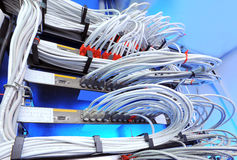 Large group of internet cabling in the data center stock photography