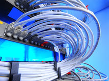Large group of internet cabling in the data center. Large group of lilac utp Internet cables in Data Center stock image