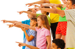 Large group of kids pointing finger side view Stock Photography