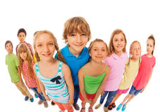 Large group of kids wide angle funny shoot Royalty Free Stock Images