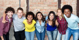 Large group of latin and african american young adult people royalty free stock images