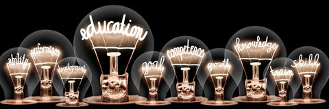 Light Bulbs with Education Concept
