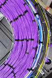 Large group of lilac utp cables Royalty Free Stock Photography