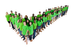 Large Group Multi-Ethnic People Making Tick Shape Royalty Free Stock Photos