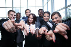 Large group of multiethnic business people pointing their finger Royalty Free Stock Photography