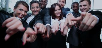 Large group of multiethnic business people pointing their finger Stock Photos