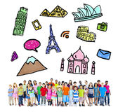 Large Group of Multiethnic Children Travel Destinations Royalty Free Stock Photos