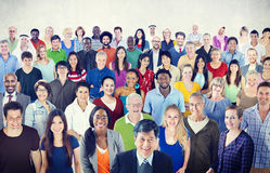 Large Group of Multiethnic People Stock Photo