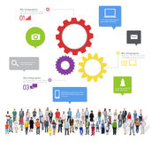 Large Group of Multiethnic People Gathering Social Media Stock Images