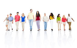 Large Group of Multiethnic People Moving Forward Together Royalty Free Stock Photos
