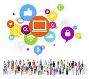 Large Group of Multiethnic People with Social Media Symbols stock photography