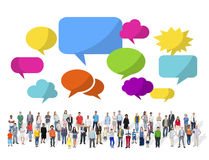 Large Group of Multiethnic People with Speech Bubbles Royalty Free Stock Photos