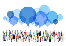 Large Group of Multiethnic People with Speech Bubbles Royalty Free Stock Image