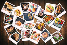 Large group of old food photos. Large group of blank old camera films with food photos on wooden background Royalty Free Stock Photography