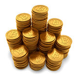 Large group of paneled golden Bitcoins on white Royalty Free Stock Photo