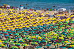 Large group of parasols at the beach of Rimini Stock Photo