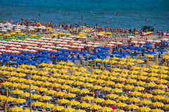 Large group of parasols at the beach of Rimini Royalty Free Stock Photo