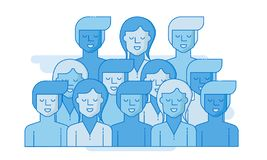 Large group of people. Business people, teamwork concept. Flat vector vector illustration