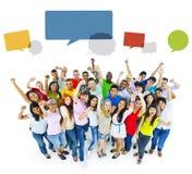 Large Group of People Celebrating Stock Image